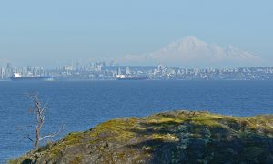 Vancouver and Mount Baker seen from Seymour Shores